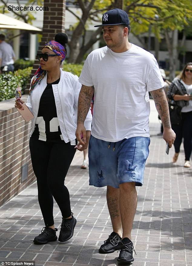 Newly Engaged Blac Chyna & Rob Kardashian Step Out In Matching Yeezys