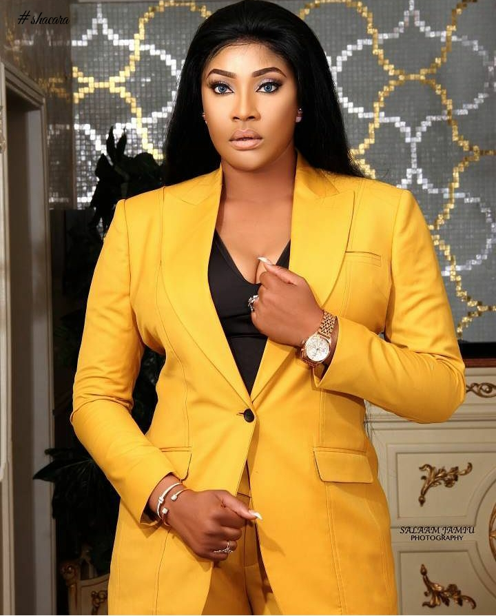 Nigerian Actress, Angela Okorie Serves Smashing Suit Style Inspirations In Celebration Of Her Birthday