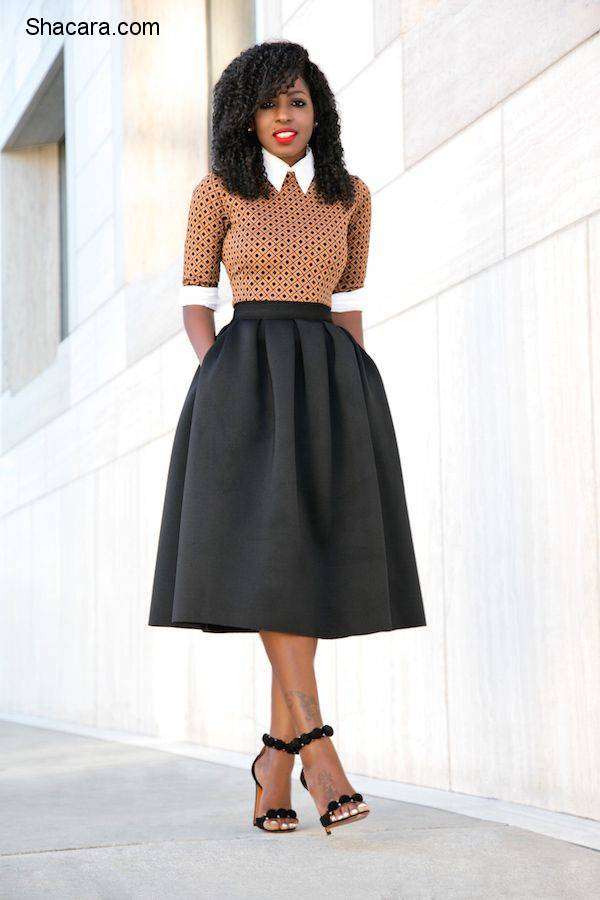 STYLE PANTRY EDITOR FOLAKE KUYE IN A BUTTON DOWN SHIRT + MIDI DRESS + FULL MIDI SKIRT