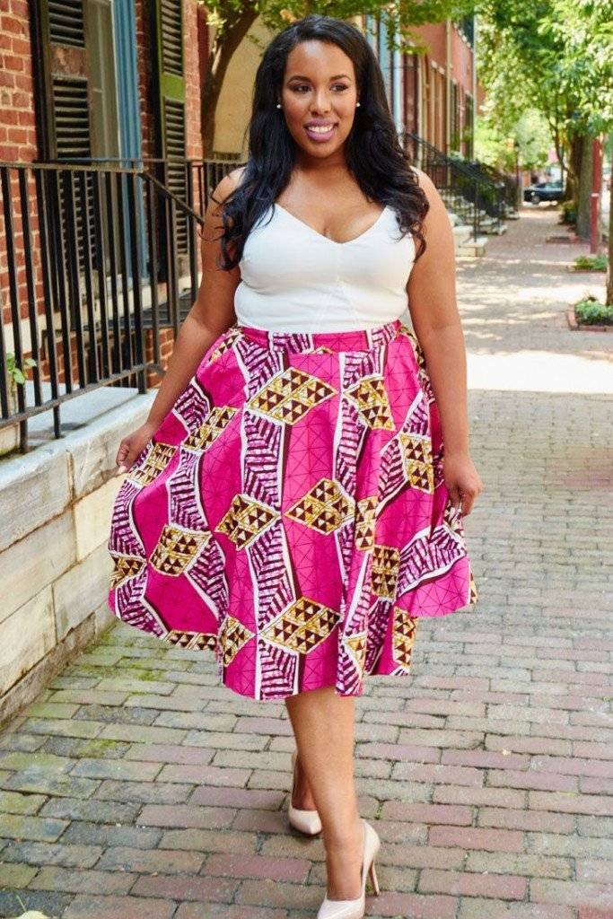 6 WAYS EVERY PLUS SIZE DIVA CAN STYLE THEIR ANKARA FLARE SKIRT