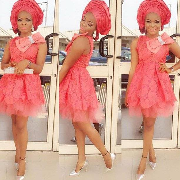 COOL AND TRENDY ASO EBI SHORT LACE DRESSES