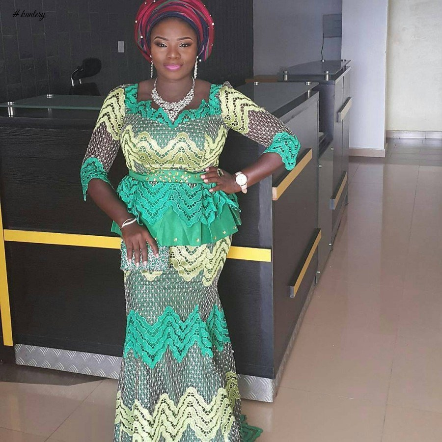 LATEST GREEN ASO EBI STYLES FOR THAT OWAMBE