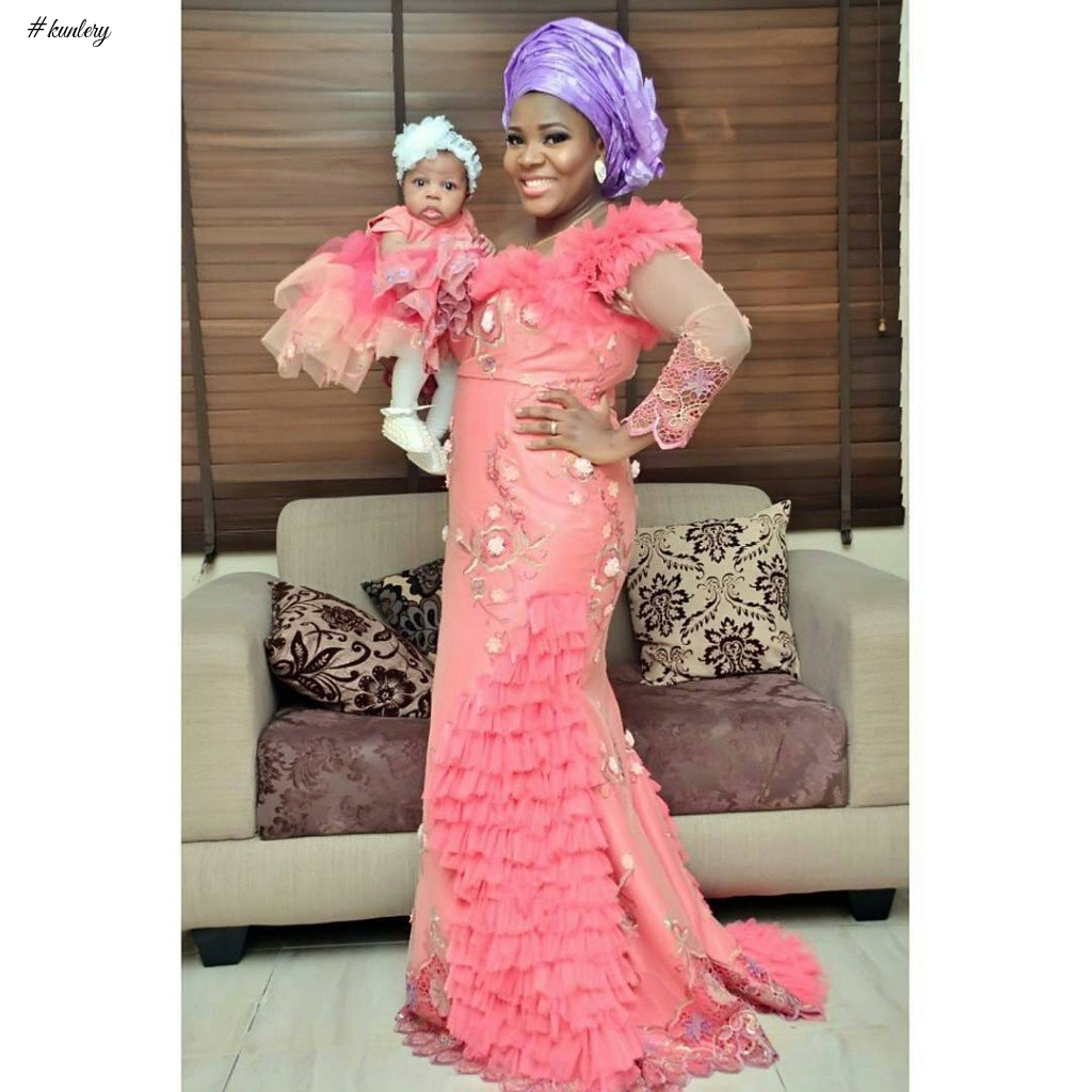 MOTHER AND CHILD OWAMBE STYLE (ASO EBI GLAM LOOK)